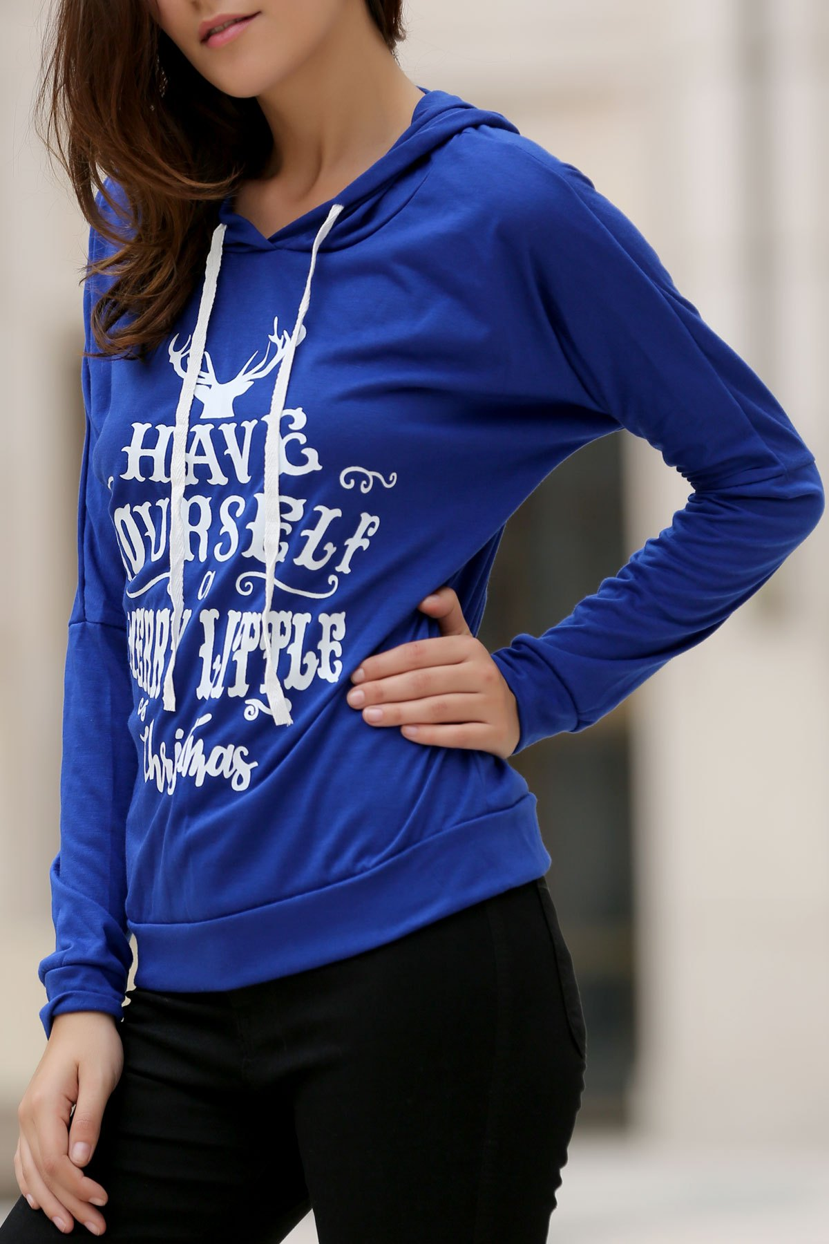 Christmas Women's Hooded Long Sleeve Deer and Letter Pattern Hoodie - DEEP BLUE S