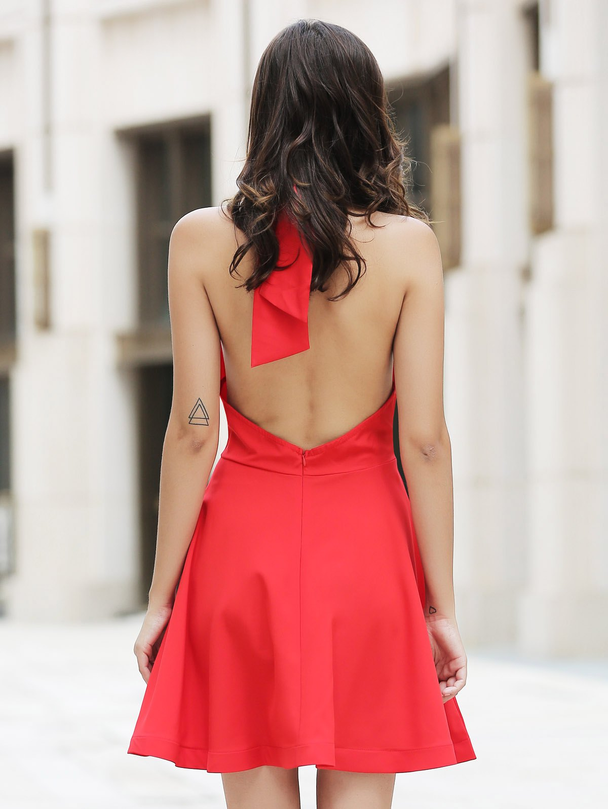 Chic High Neck Backless Red Sleeveless Dress For Women - RED S
