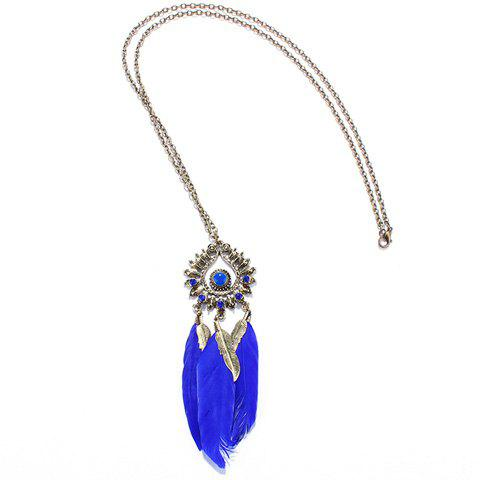 Faux Gem Feather Hollow Out Necklace - BLUE