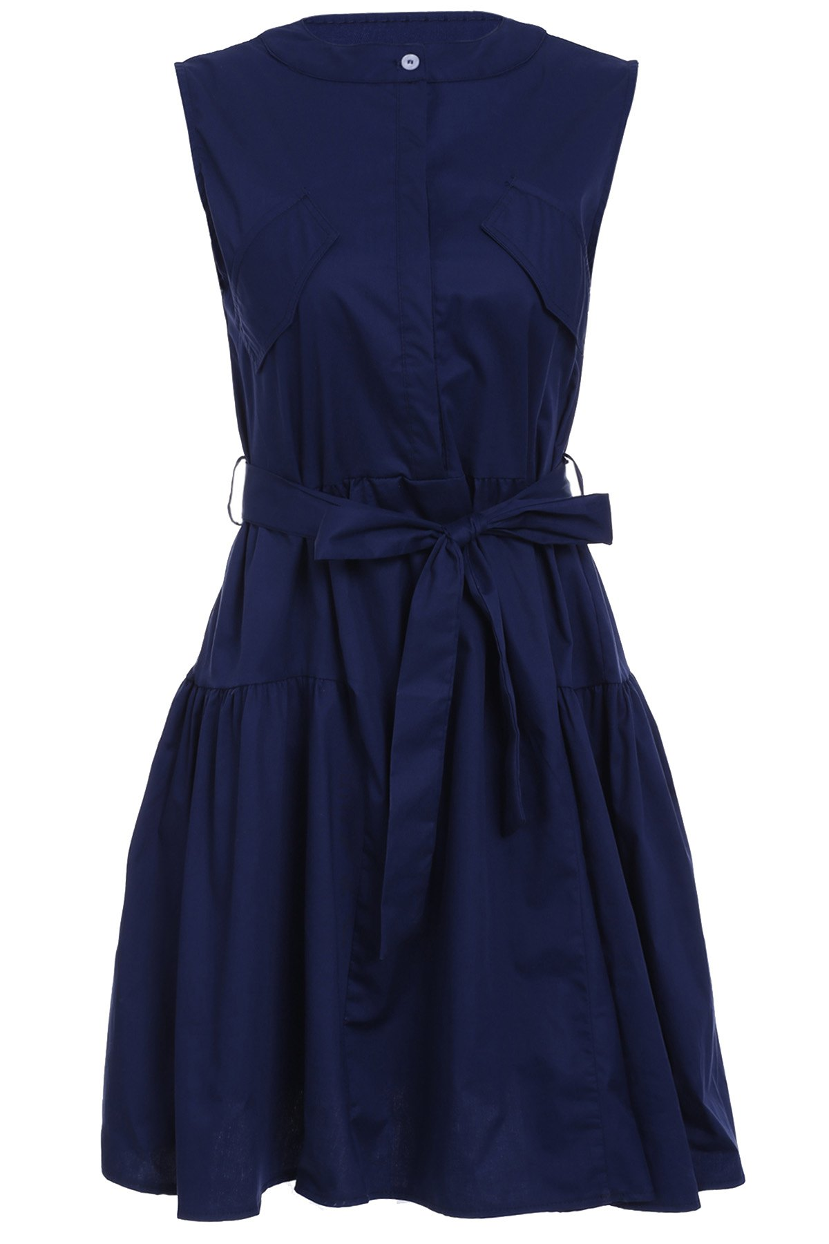 Trendy Sleeveless Pure Color Belted Dress For Women - DEEP BLUE L