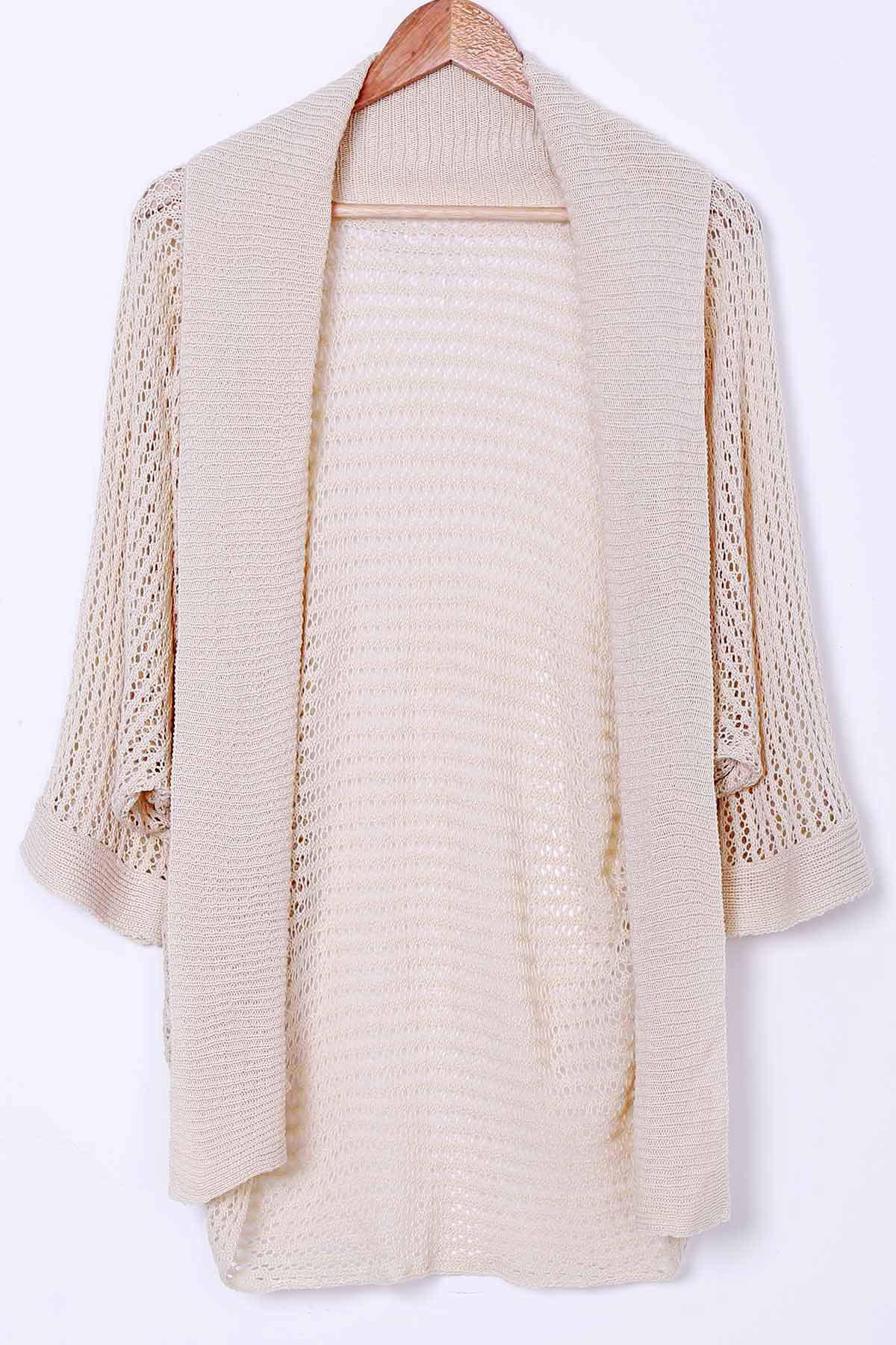 Stylish Collarless Long Sleeve Hollow Out Knitted Women's Cover-Up - APRICOT ONE SIZE(FIT SIZE XS TO M)