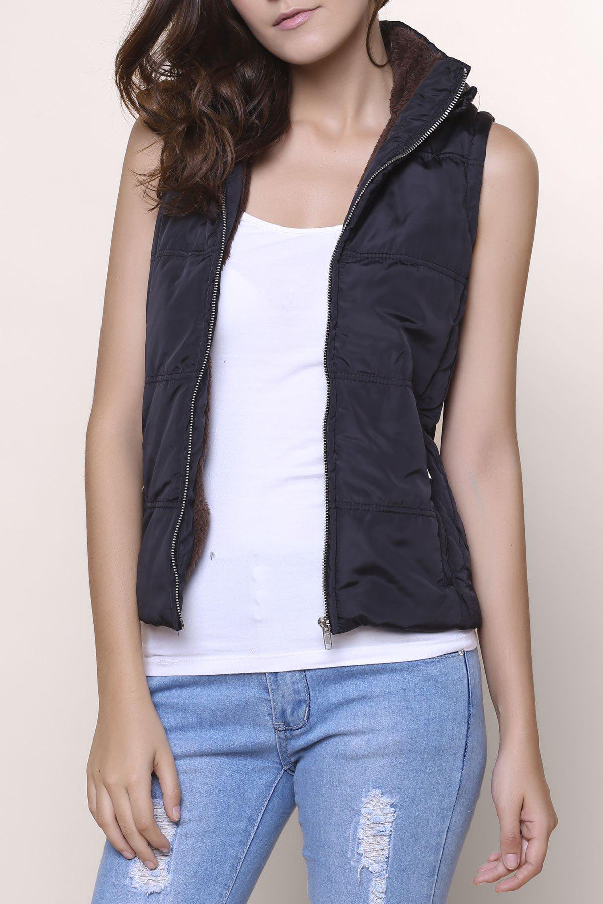 Stylish Sleeveless Hooded Zip Up Women Padded WaistcoatWomen<br><br><br>Size: M<br>Color: BLACK