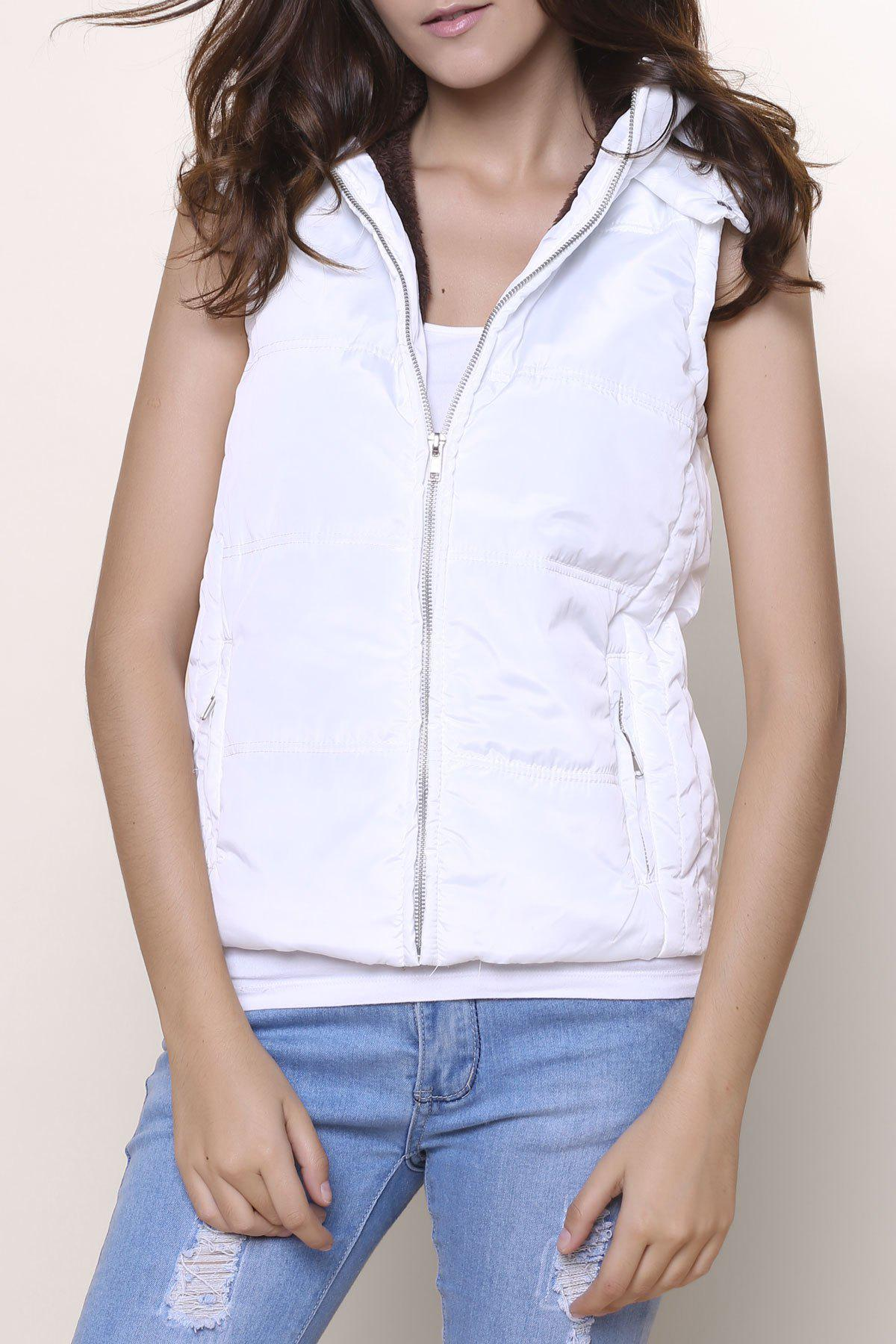 Stylish Sleeveless Hooded Zip Up Women' Padded Waistcoat - Blanc M
