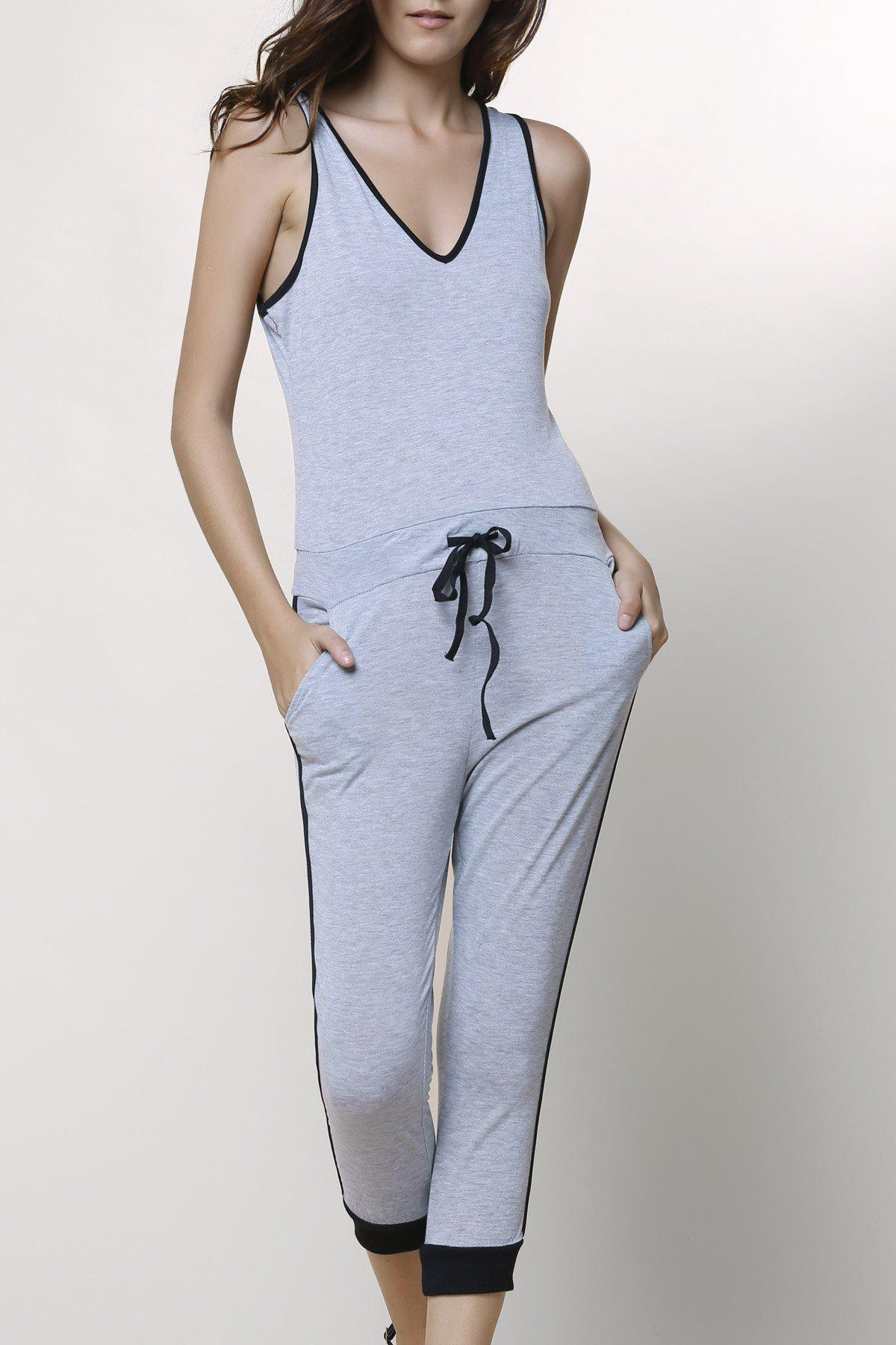 Stylish V-Neck Sleeveless Drawstring Spliced Women's Jumpsuit - GRAY L