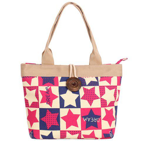 Leisure Star Print and Button Design Women's Shoulder Bag - RED