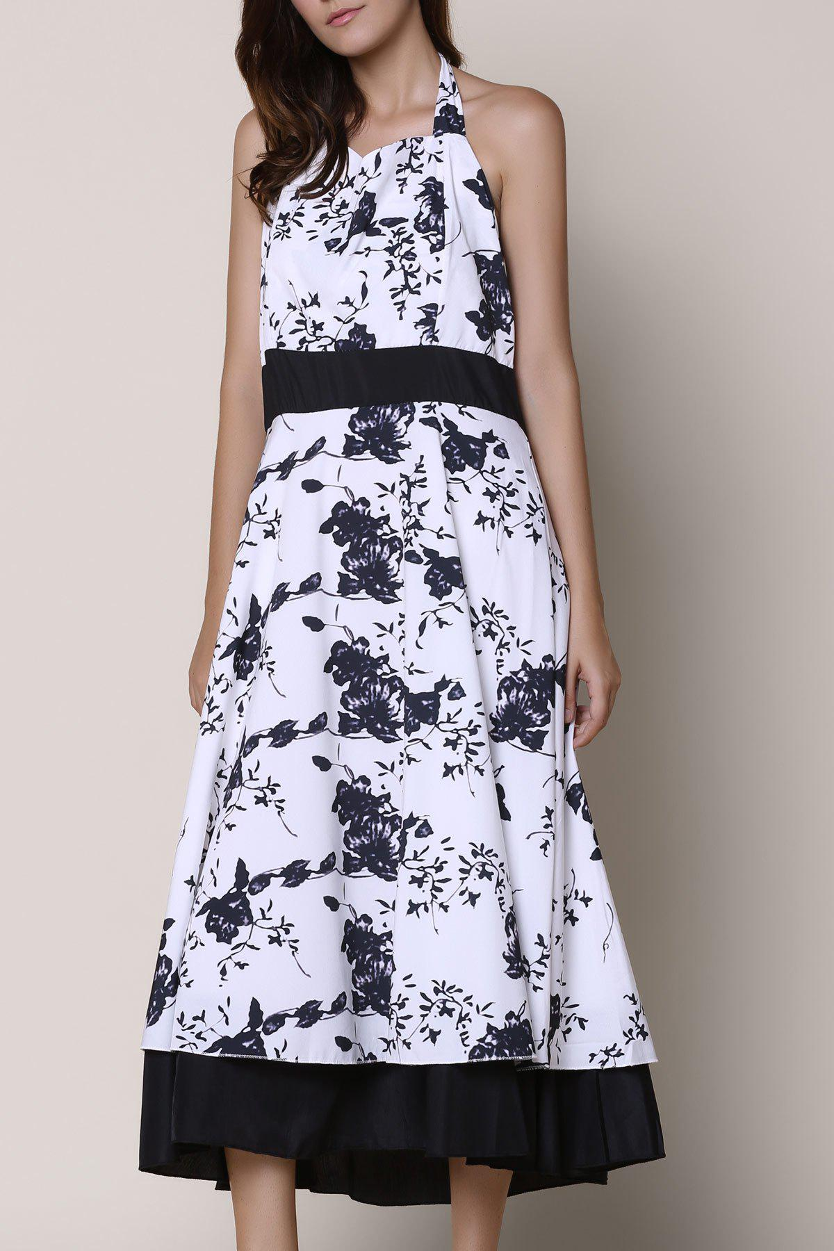Vintage Floral Printed Halter High Waist Pleated Ball Gown Dress For Women - WHITE/BLACK S