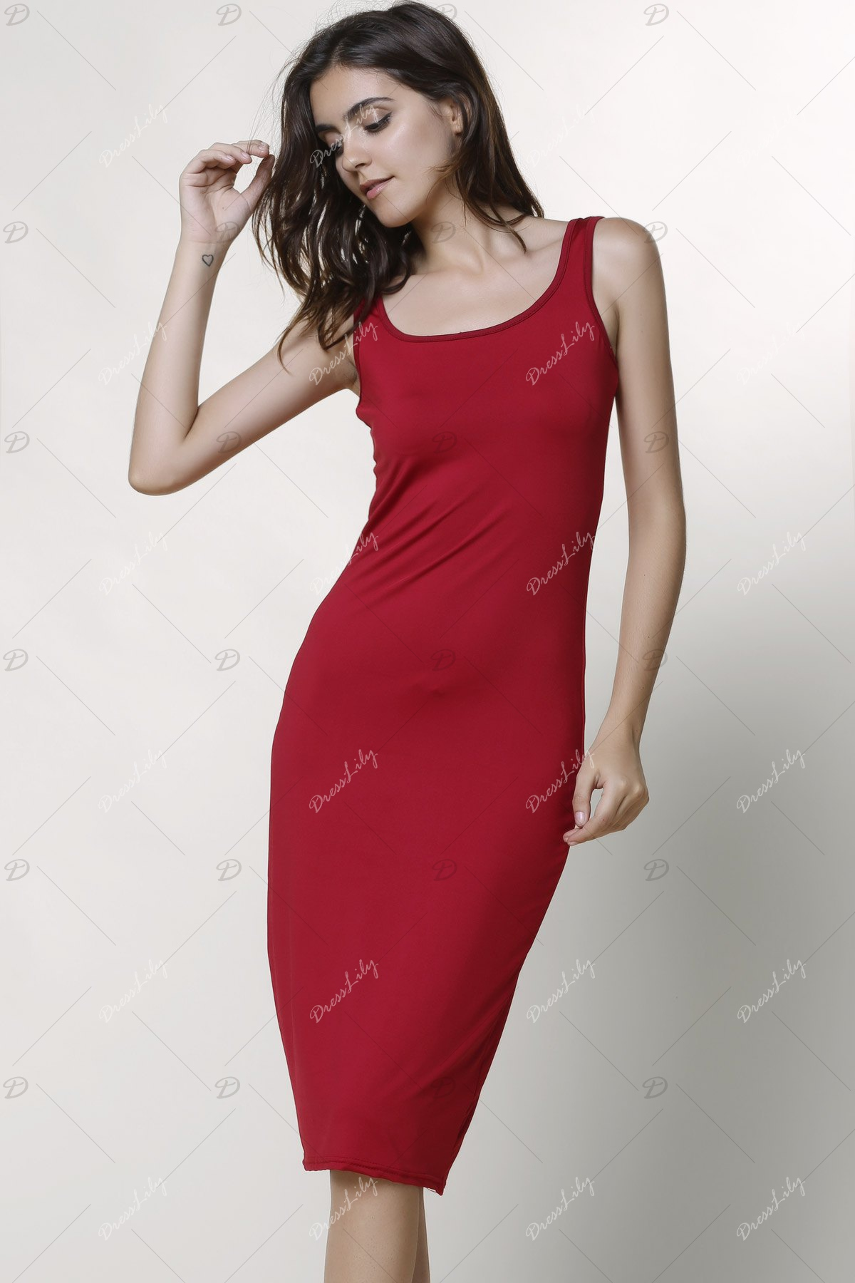 Sexy Scoop Collar Sleeveless Bodycon Solid Color Women's Dress - WINE RED L
