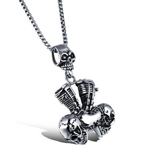 Chic Skull Hollow Out Pendant Necklace For Men - SILVER