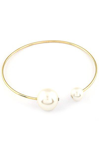 Punk Big Faux Pearl Gold Plated Chokers Necklace - GOLDEN