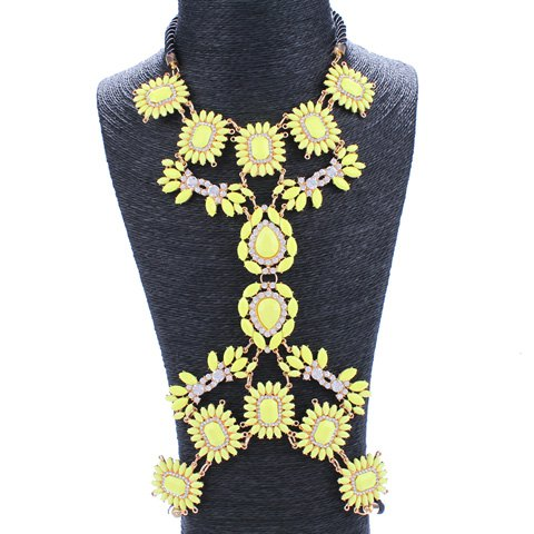 Elegant Rhinestoned Flowers Leaf Body Chain For Women