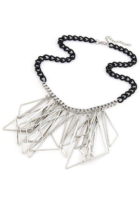Chic Hollow Triangles Pendant Statement Necklace For Women -  SILVER