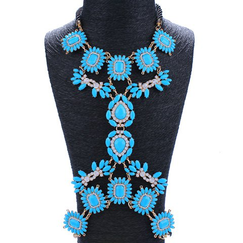 Elegant Rhinestoned Blue Flowers Body Chain For Women