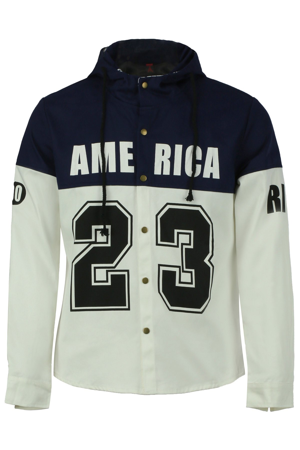 Color Block Splicing Number and Letters Print Hooded Long Sleeve Men's Jacket