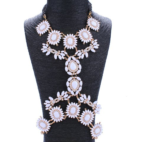 Rhinestone Flowers Resin Body Chain - WHITE