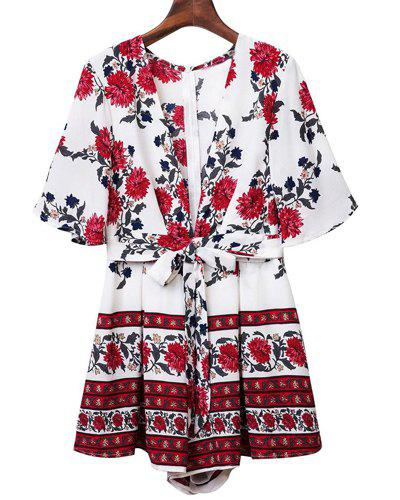 Low Cut Tie Front Floral Romper - WHITE M
