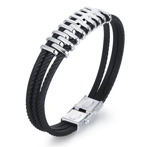 Punk Style Layered Alloy Bracelet - BLACK