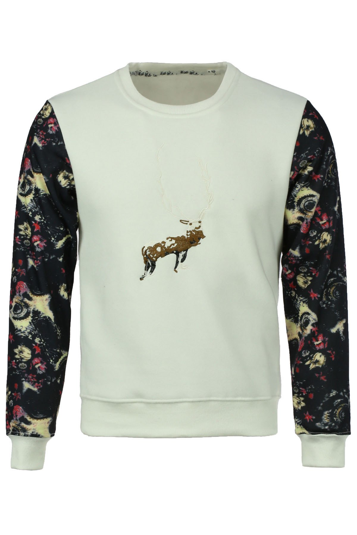 Round Neck Space Print Spliced Elk Embroidered Long Sleeve Men's Sweatshirt - WHITE 5XL