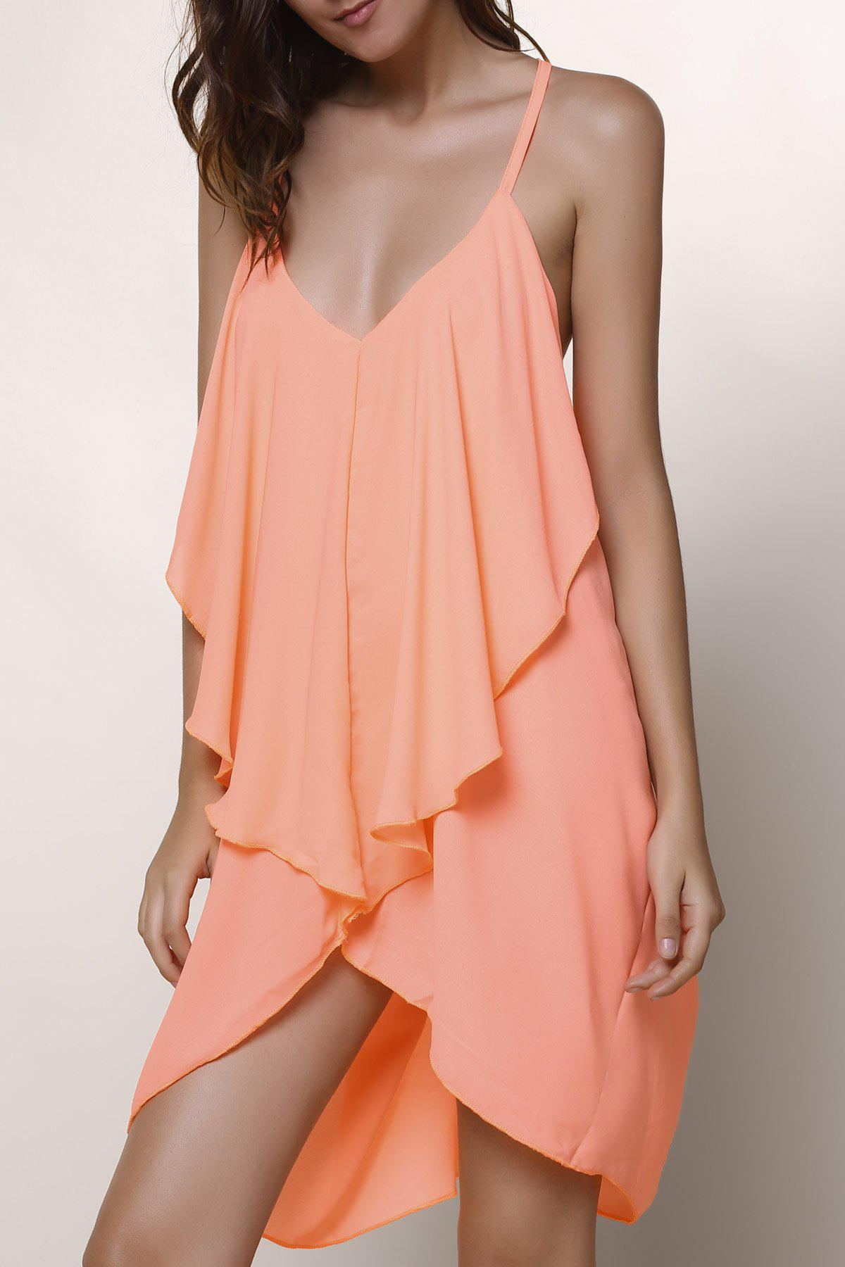 Stylish Sleeveless V-Neck Asymmetrical Chiffon Women's Dress
