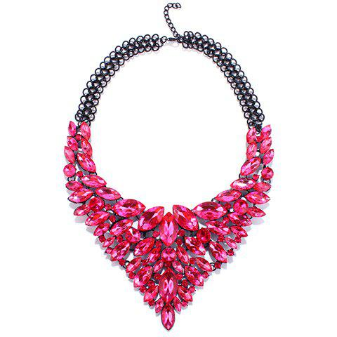 Artificial Crystal Multilayer Oval Necklace - ROSE