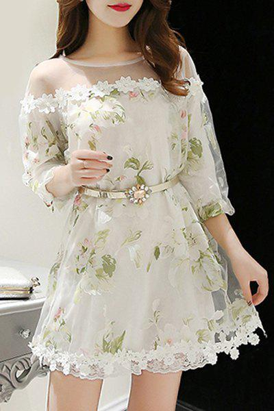 Elegant Women's Jewel Neck 3/4 Sleeve Floral Print Belted Organza Dress - WHITE S