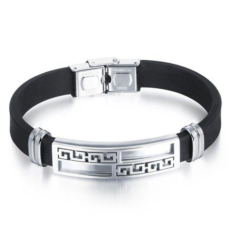 Alloy Faux Leather Geometric Bracelet - WHITE