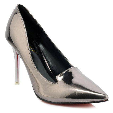 Fashion Pointed Toe and Patent Leather Design Women's Pumps - SILVER 35