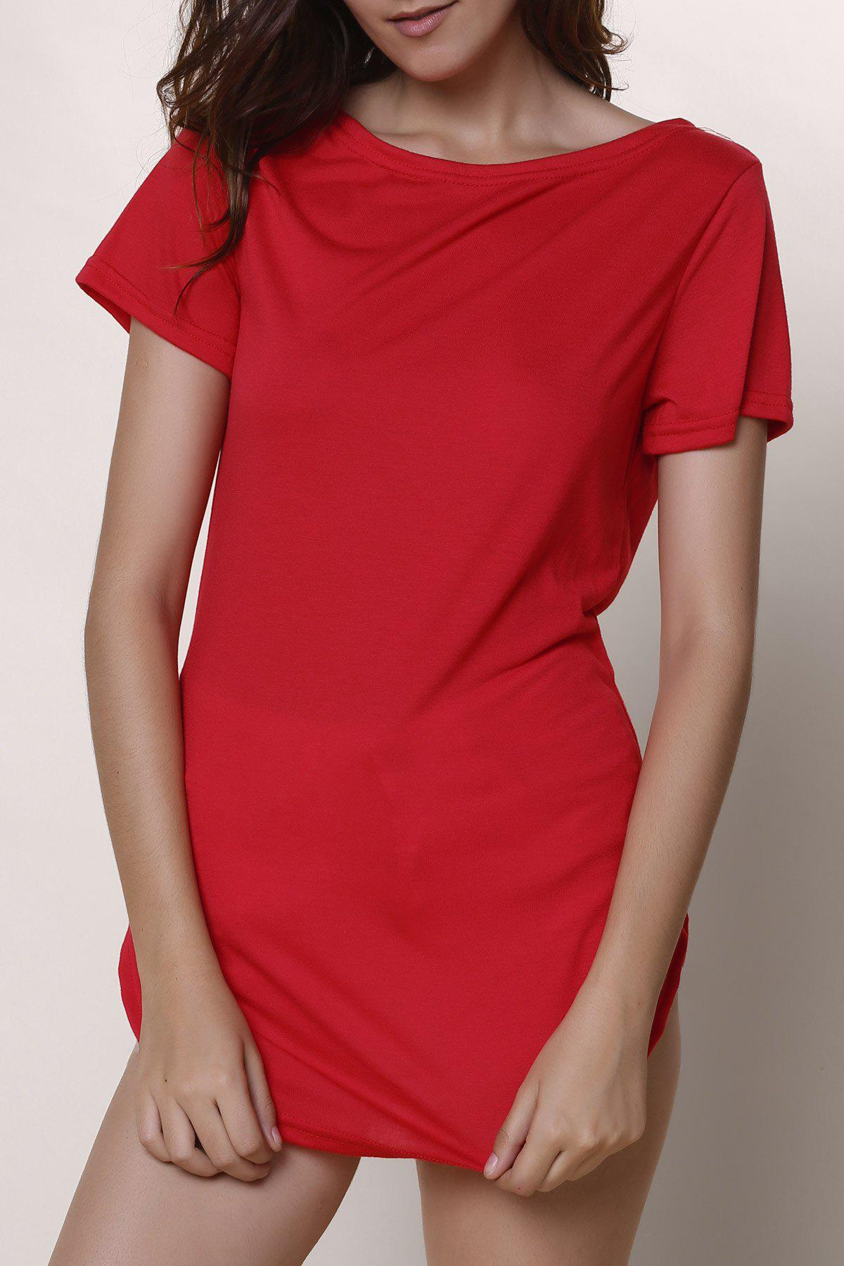 Casual Women's Jewel Neck Short Sleeve Solid Color Slit Dress - RED S