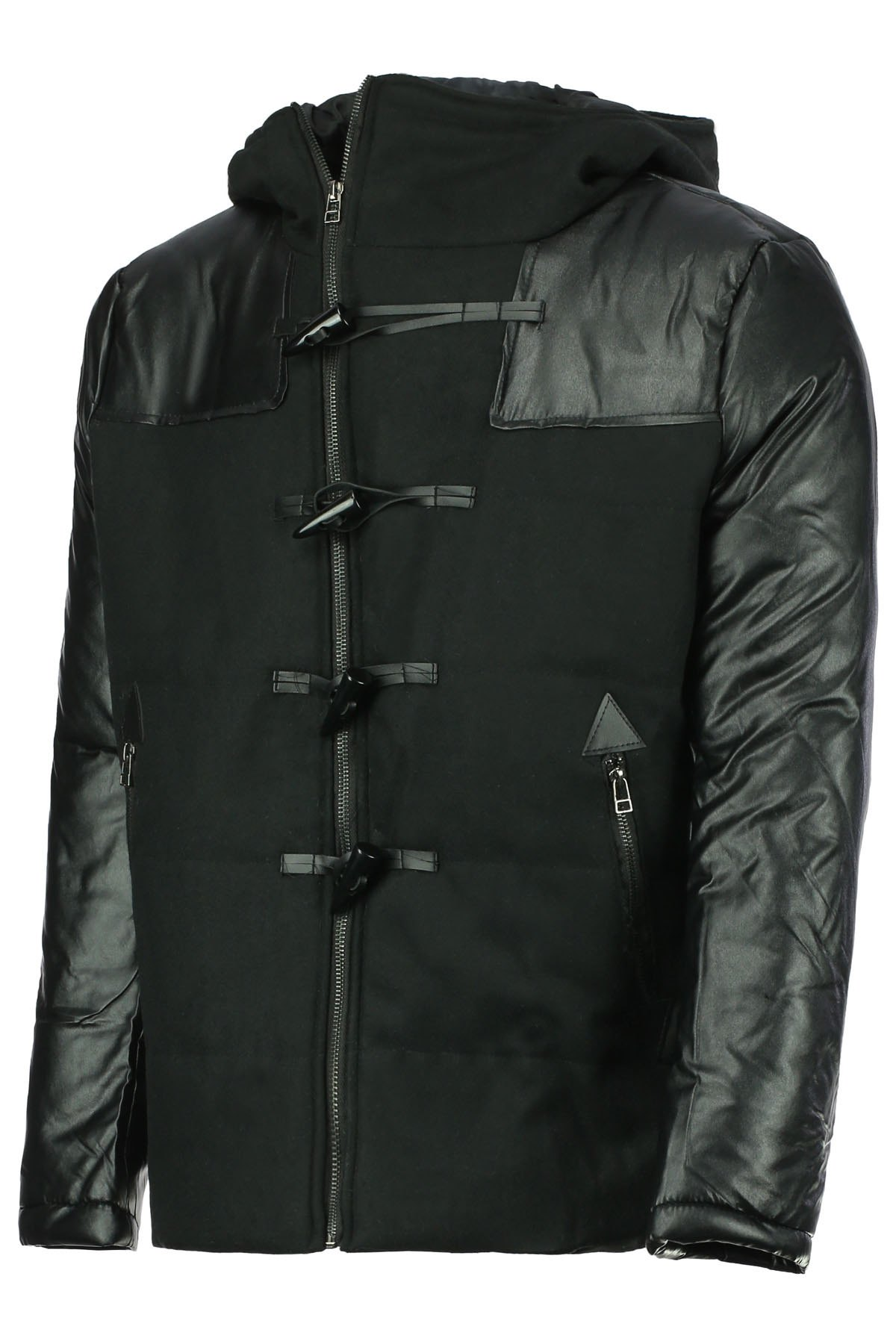 Fashion Hooded Slimming Horn Button Cotton Liner Long Sleeves Polyester Men's Coat - BLACK 2XL