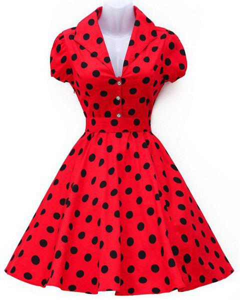 Vintage Turn-Down Collar Big Hem Polka Dot Print Women's Dress - RED S