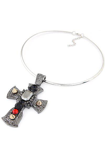 Chic Big Cross Pendant Chokers Necklace For Women - SILVER