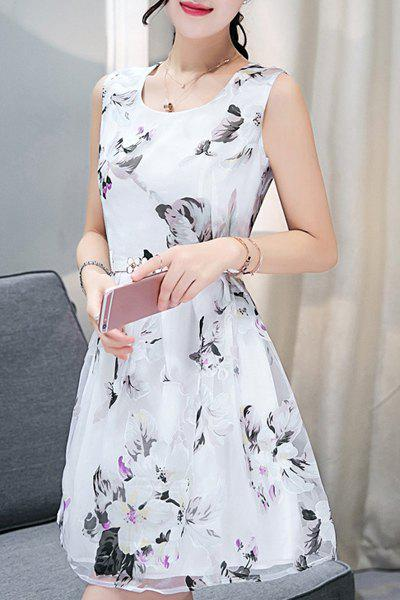 Elegant Women's Scoop Neck  Sleeveless Floral Print Belted Organza Dress - WHITE XL