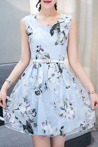 Elegant Women's Scoop Neck  Sleeveless Floral Print Belted Organza Dress - LIGHT BLUE M
