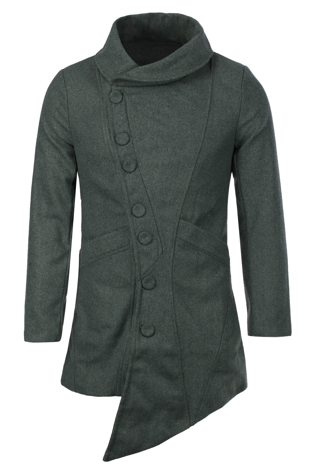British Style Turn-down Collar Side Buttons Long Sleeves Woolen Coat For MenMen<br><br><br>Size: 2XL<br>Color: DEEP GRAY