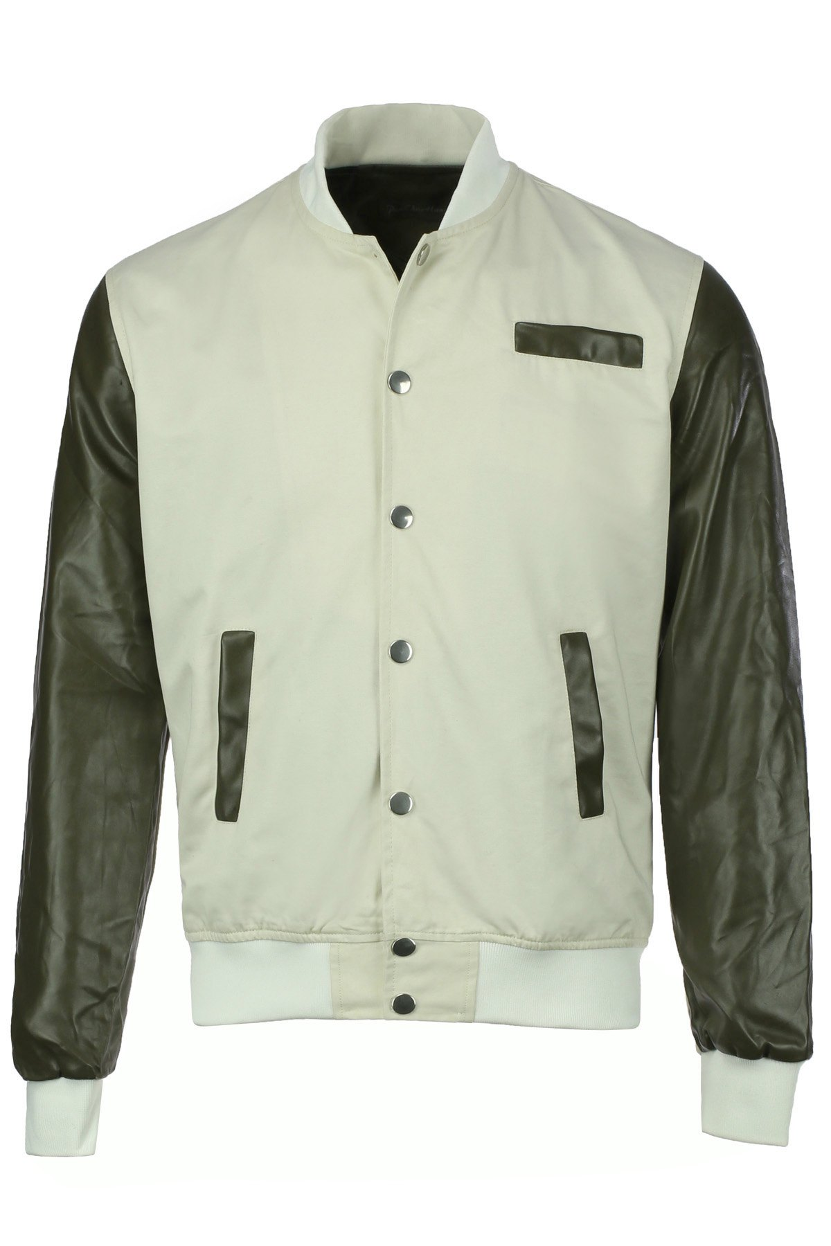 Stylish Stand Collar Color Block PU Leather Long Sleeves Polyester Jacket For Men - BEIGE 3XL
