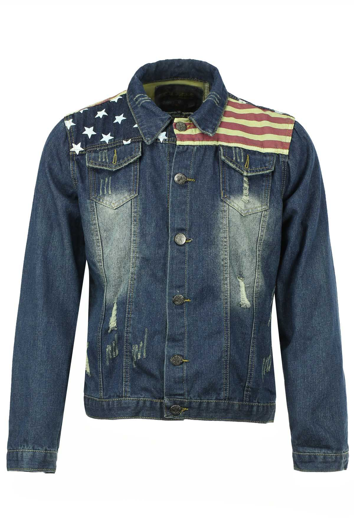 Stylish Turn-down Collar Slimming Five-Pointed Star and Stripes Print Destroy Wash Long Sleeves Men's Denim Jacket - BLUE M