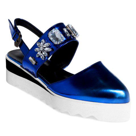Fashionable Rhinestones and Wedge Heel Design Women's Sandals - BLUE 39