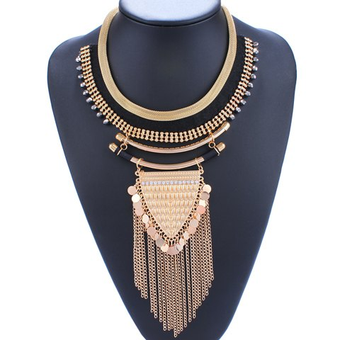 Rhinestones Triangle Coin Fringed Necklace - GOLDEN
