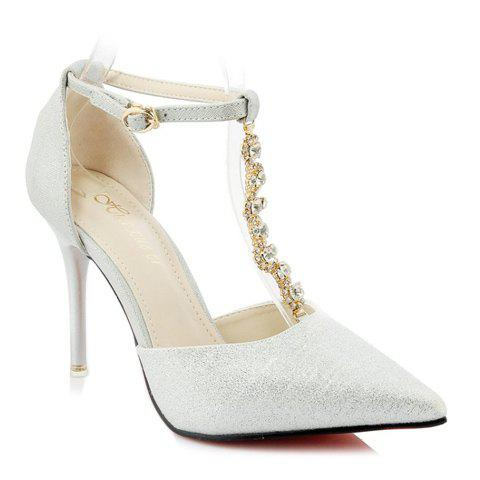 Elegant T-Strap and Beading Design Women's Pumps - WHITE GOLDEN 35