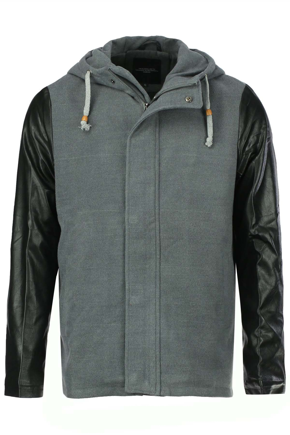Casual Style Hooded Slimming PU Leather Splicing Long Sleeves Men's Woolen Plus Size Jacket - LIGHT GRAY XL
