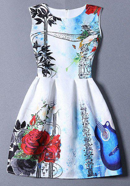 Cute Round Neck Flared Floral Print Women's Dress - BLUE S