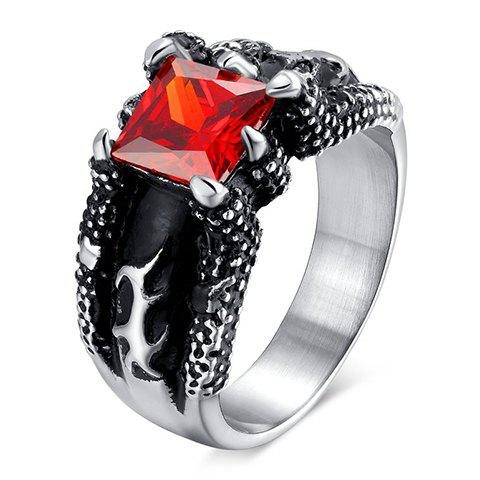 Punk Style Faux Ruby Titanium Steel Ring For Men - ONE-SIZE RED