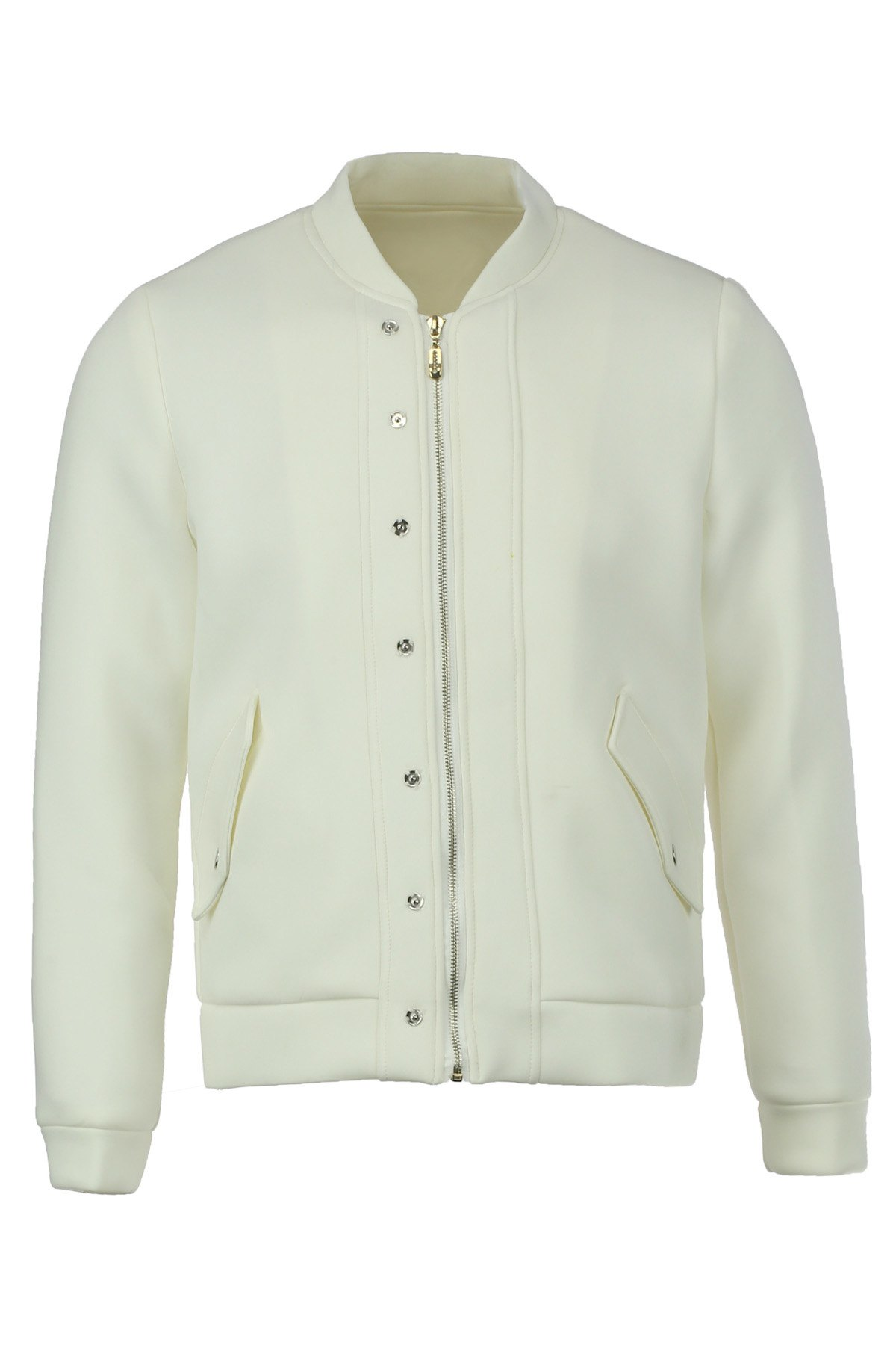 Simple Style Solid Color Stand Collar Slimming Button Embellished Long Sleeves Men's Space Cotton Thicken Jacket - WHITE M