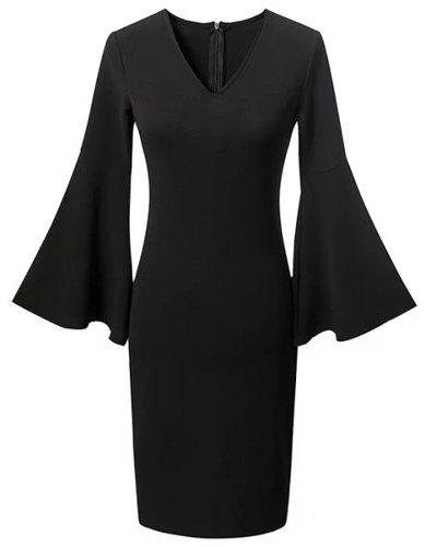 Chic Flare Sleeve Plunging Neck Black Women's Dress - BLACK S