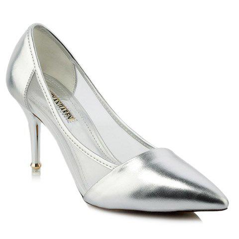 Fashion Pointed Toe and Splicing Design Women's Pumps - SILVER 36