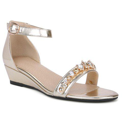 Fashionable Wedge Heel and Ankle Strap Design Women's Sandals - 39 GOLDEN