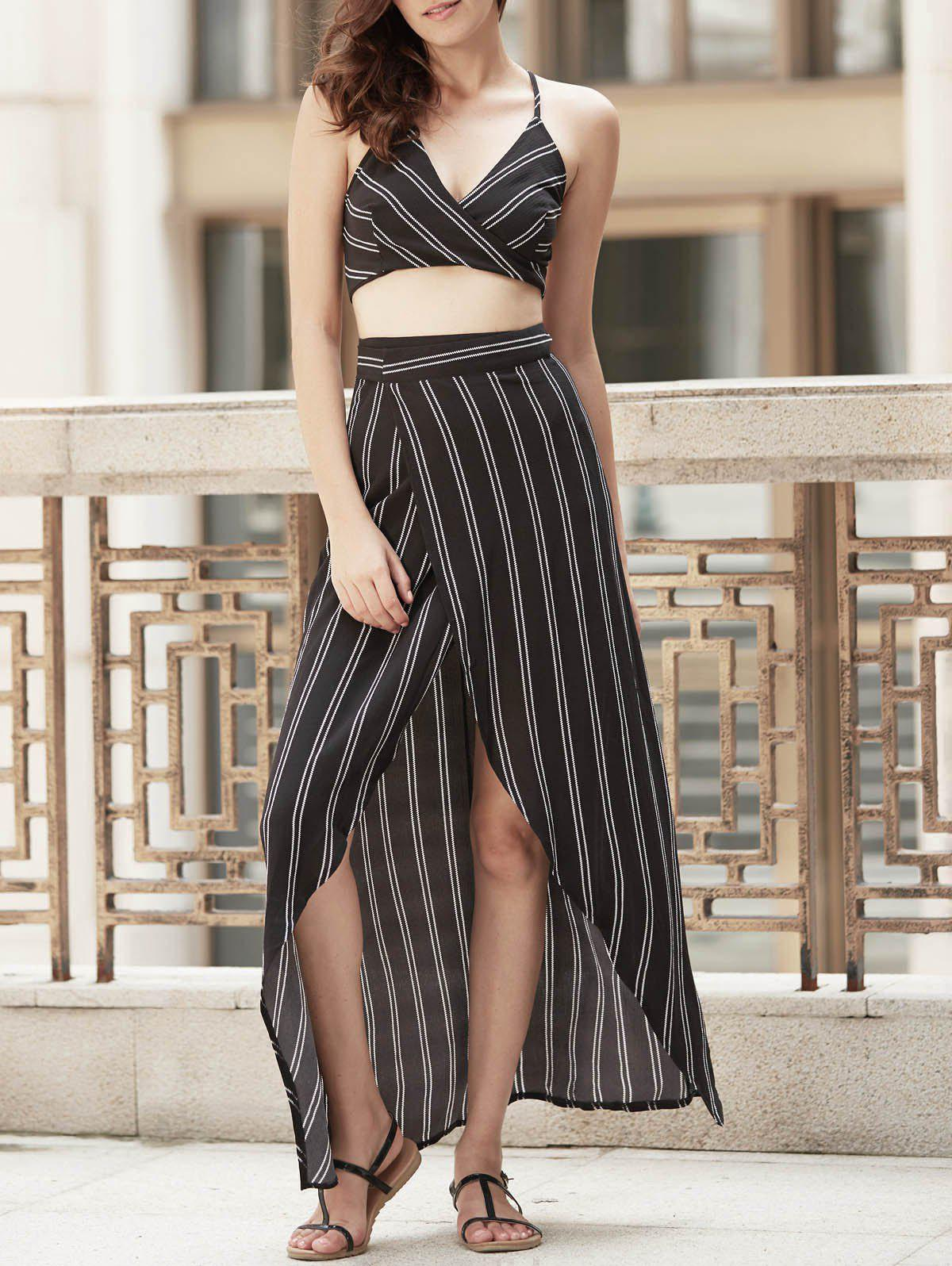 Spaghetti Strap Sleeveless Striped Cross-Back Backless Wrap Crop Top + Skirt - BLACK S