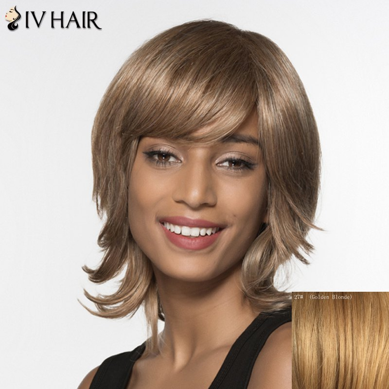 Fluffy Side Bang Capless Human Hair Medium Layered Wave Siv Hair Wig For Women - GOLDEN BLONDE