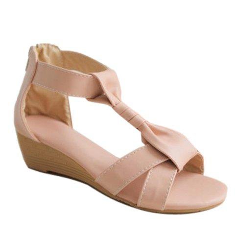 Simple T-Strap and Zipper Design Women's Sandals - PINK 37