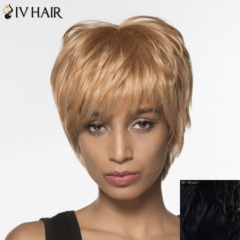 Spiffy Straight Capless Siv Hair Short Multicolor Human Hair Wig For Women