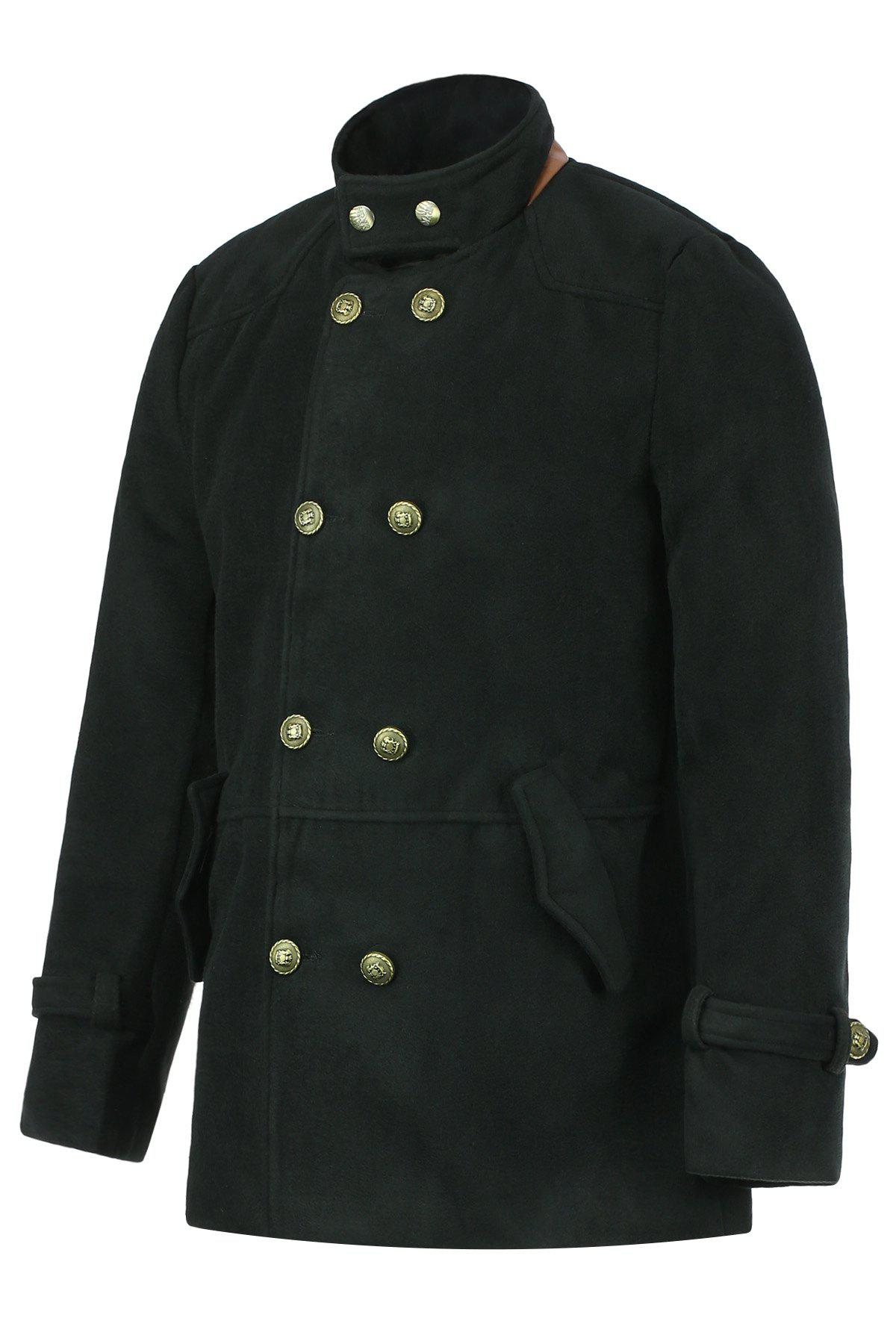 Slimming Trendy Stand Collar Double-Breasted Solid Color Button Embellished Long Sleeves Men's Woolen Coat - BLACK 2XL